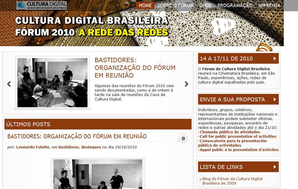 Página do Fórum 2010