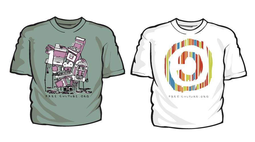 Simpáticas camisetas vendidas no freeculture.org